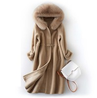 New arrival women's winter fashion genuine 100% sheep wool coat with large fox fur hood long jacket for lady female brown khaki