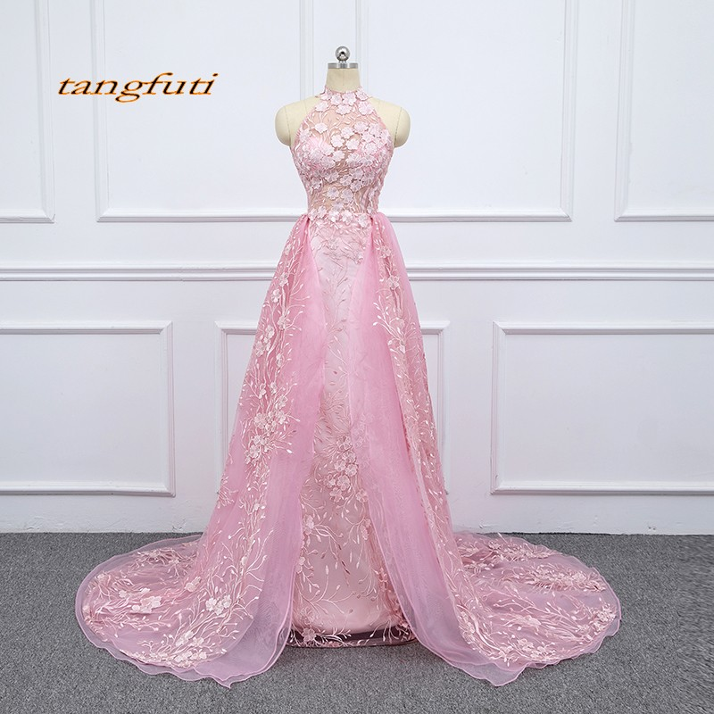 Lace Pink   Evening     Dresses   Long Detachable Train Party Women Formal   Evening   Prom Gowns   Dresses   Wear robe de soiree longue