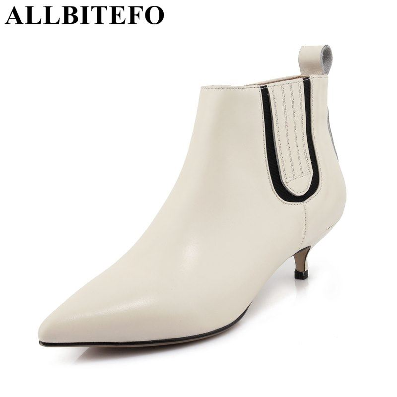 ALLBITEFO high heel shoes genuine leather pointed toe women boots fashion mixed colors high heels ankle boots girls shoes