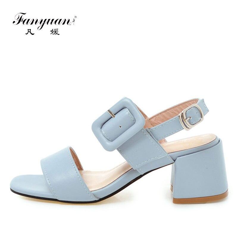 Fanyuan Women Shoes High Heel Sandals Elegant Solid  Woman Summer Heels Chunky Buckle Ladies sandale femme
