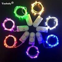 10 Unids/lote 2 M 20 LED CR2032 Pila de Botón Accionado Plata de Cobre Luces de Hadas de Cuerda DIY Decoraciones Navideñas, boda, Fiesta