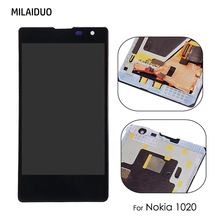 Original LCD Display For Nokia Lumia 1020 Touch Screen Digitizer Sensor Glass Panel Assembly With Frame Black 100% Tested недорго, оригинальная цена