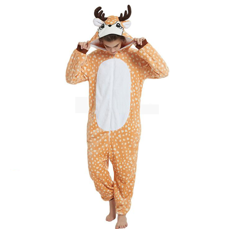 Animals Christmas Deer Kigurumi Costume Adult Girl Onesies Flannel Anime Unicorn Women Anime Jumpsuit Disguise Onepiece Suit