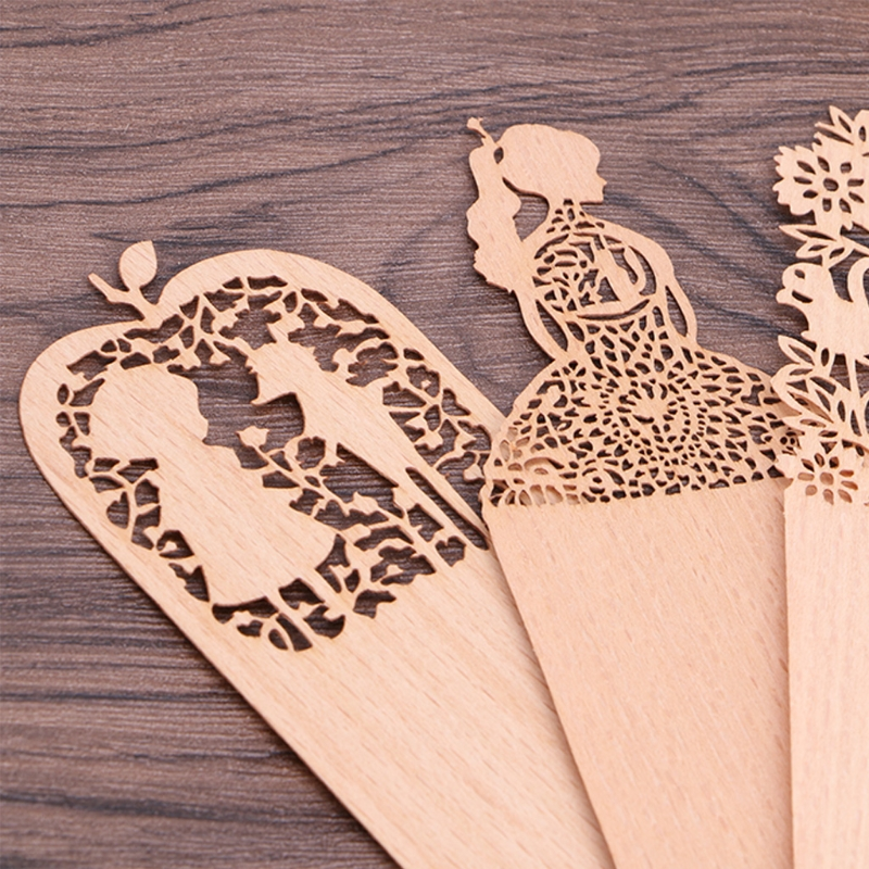 Vintage Wooden Hollow Bookmark Lovely Girl Office School Students Supplies Gift  W15