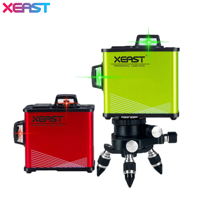 Original XEAST Green Red 12Lines 3D Laser Level Self Leveling 360 Horizontal And Vertical Cross
