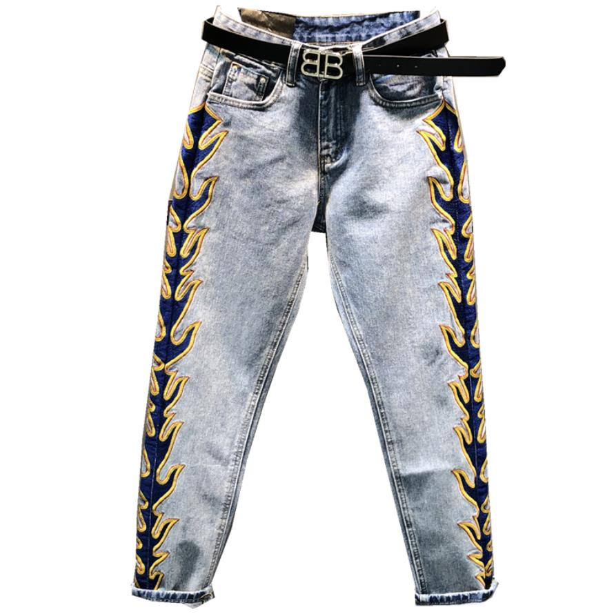 2019 spring new fashion straight personality embroidery side stripes jeans women loose thin feet pants
