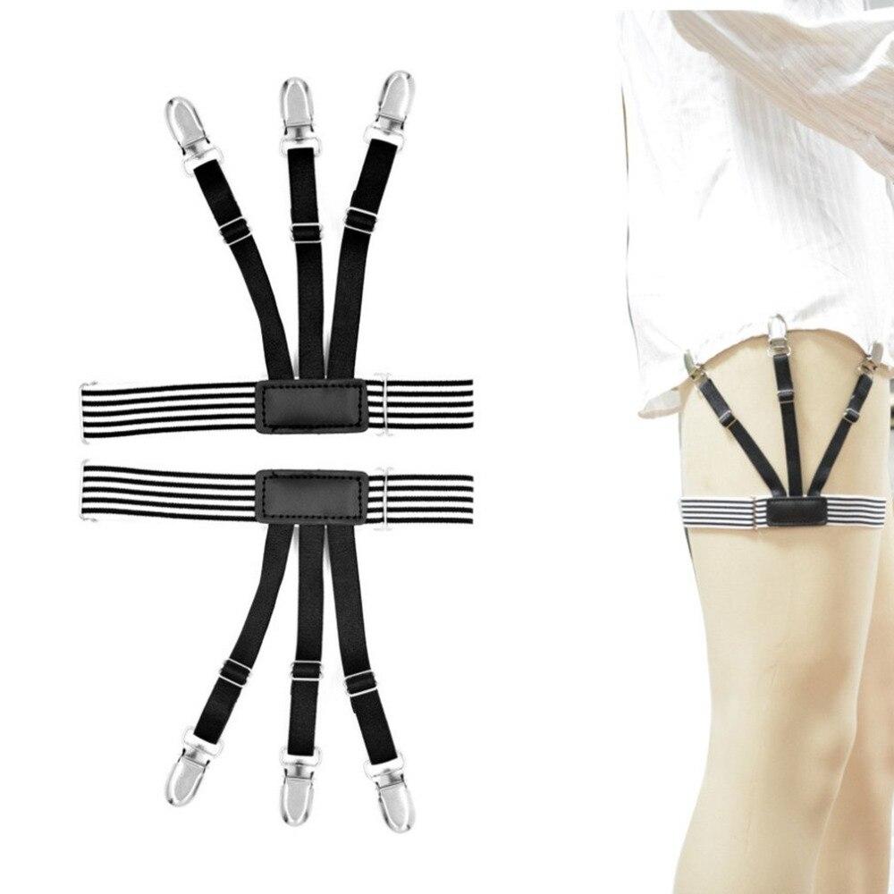 1 Pc Men's Shirt Crease-resist Anti-skid Clip Gentleman Legs Thigh Elastic Adjustable Suspender Holder Stays Garters Wholesale