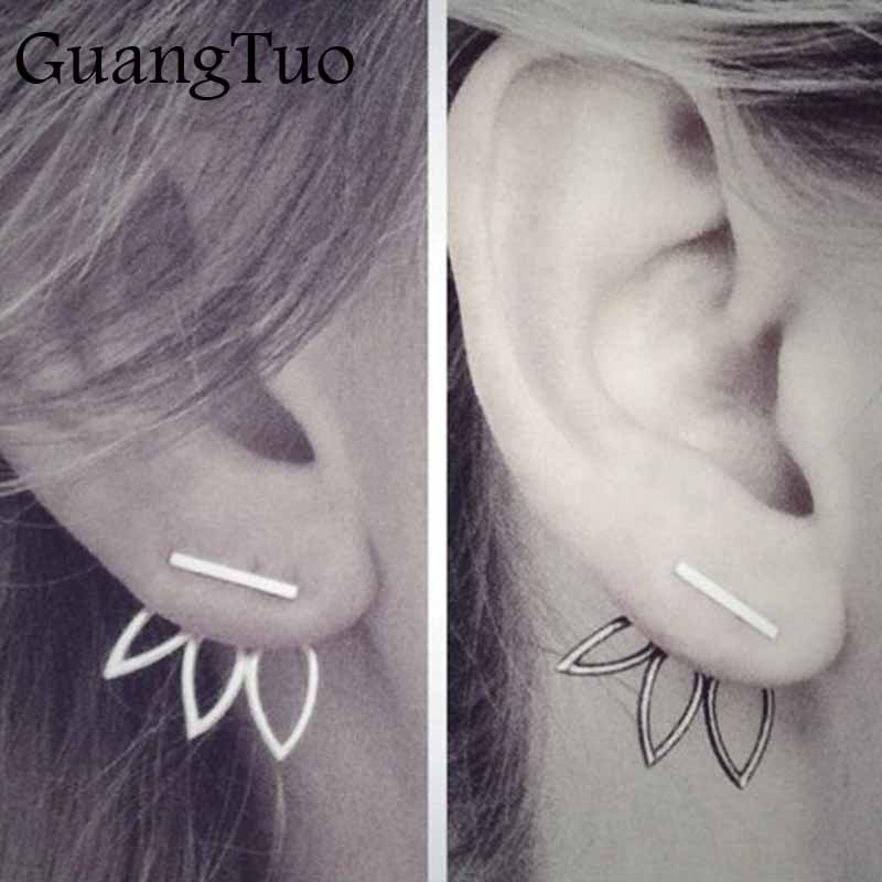 Hollow Out Lotus Flower Earrings Fashion Stud Earrings Jewelry for Women Accessories Double Sided Boucles D'oreilles EK116