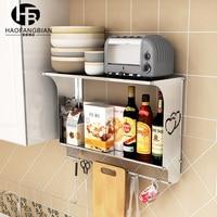 Stainless steel shelf wall shelf microwave shelf spices glove storage rack shelf