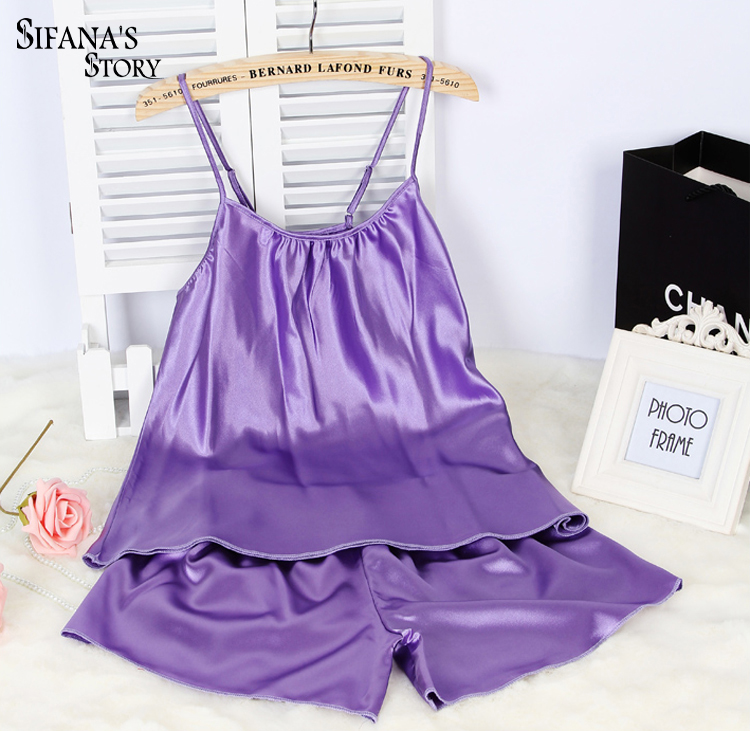 Ladies Sexy Silk Satin Pajama Set Sleeveless Pyjama Set Round Neck Pijama Set Soft Sleepwear Set  Indoor Clothing For Women