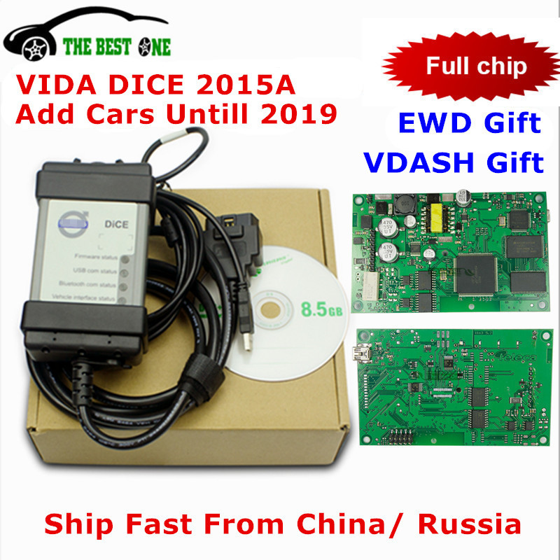 Top Sale For Volvo Vida Dice 2015A Add Cars To 2019 OBD2 Car Diagnostic Tool 2014D Vida Dice Pro Full Chip Green Board Free Ship(China)