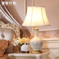 TUDA 2017 Table Lamps The New Chinese Style Bedroom Bedside Lamp Ceramic Lamp Painted Petals