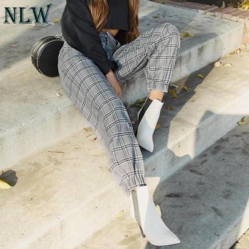 NLW Casual Plaid Metal Chain Cargo   Pants   High Street Fashion Ankle-Length Trousers Loose   Pants     Capris   Women