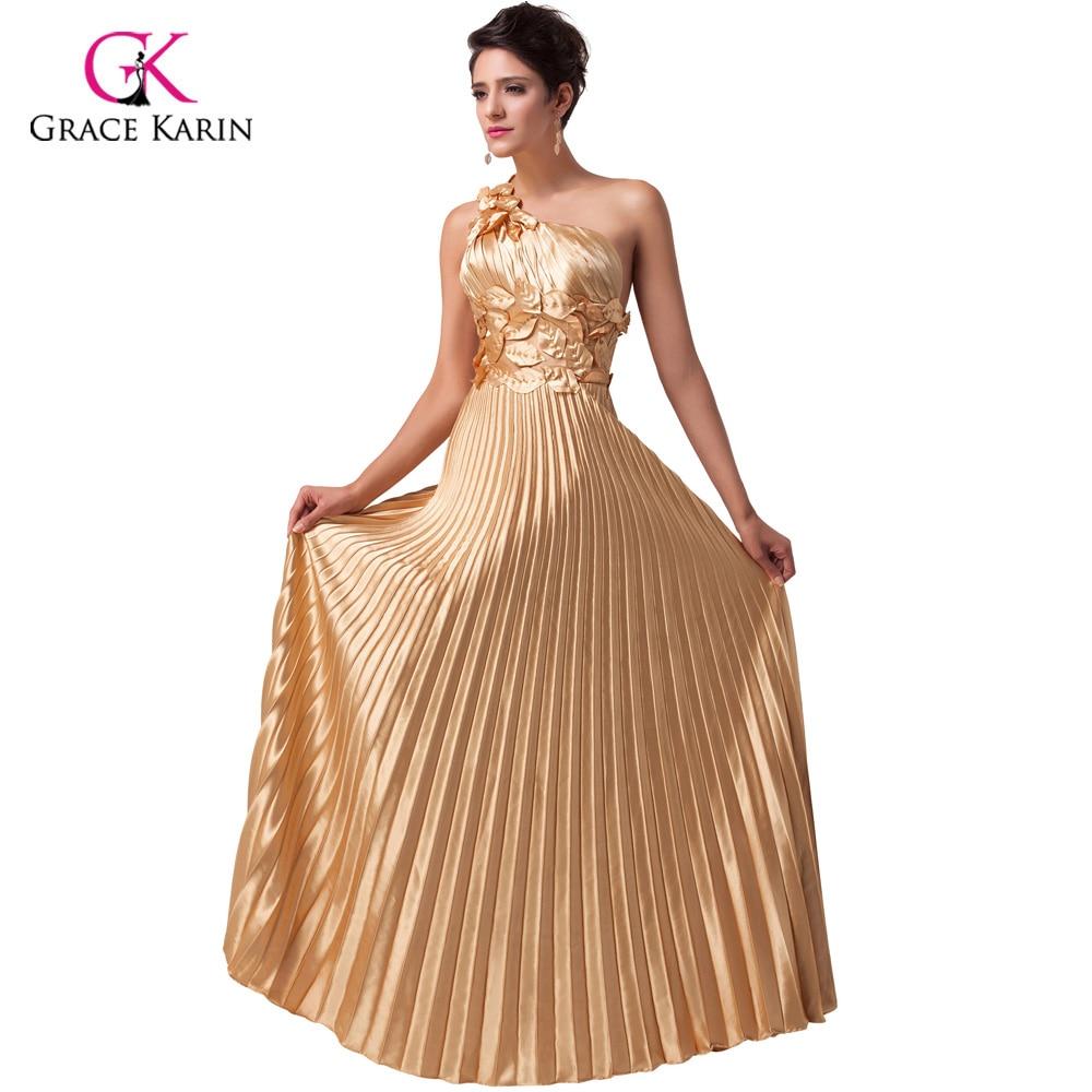 2018 Beautiful Luxury Gold Evening Dress Grace Karin Satin long ...