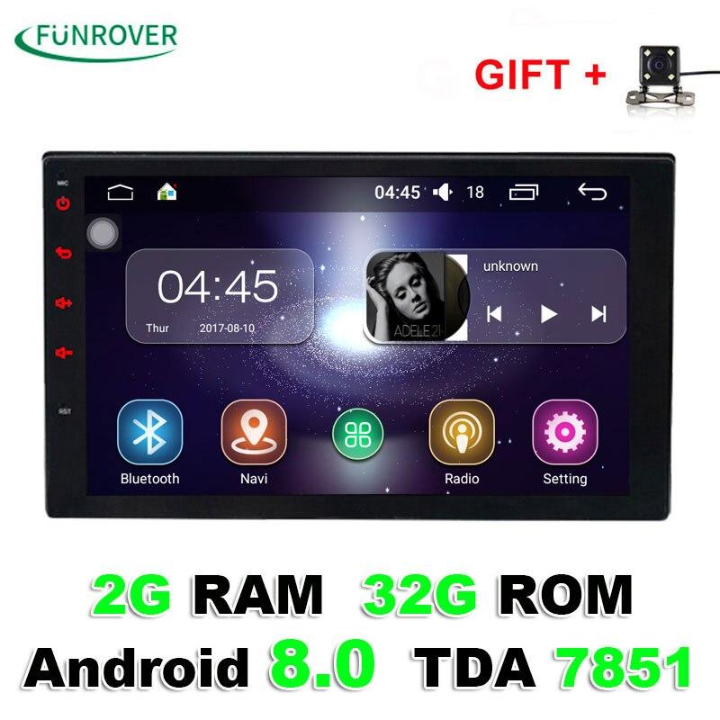 2018 Venda 2 Double Din Universal Car Dvd Player de Rádio Stereo 2g + 32g 7 Polegada Android 8.0 Autoradio Navegação Gps Quad-core Bt Fm