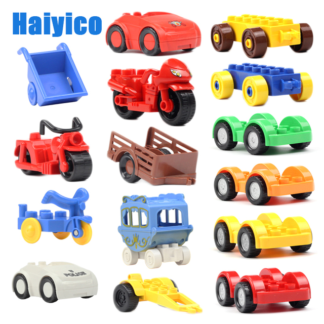big particles building blocks Vehicle accessories compatible Duplos Transportation Inserting blocks car motorcycle Toy chassis