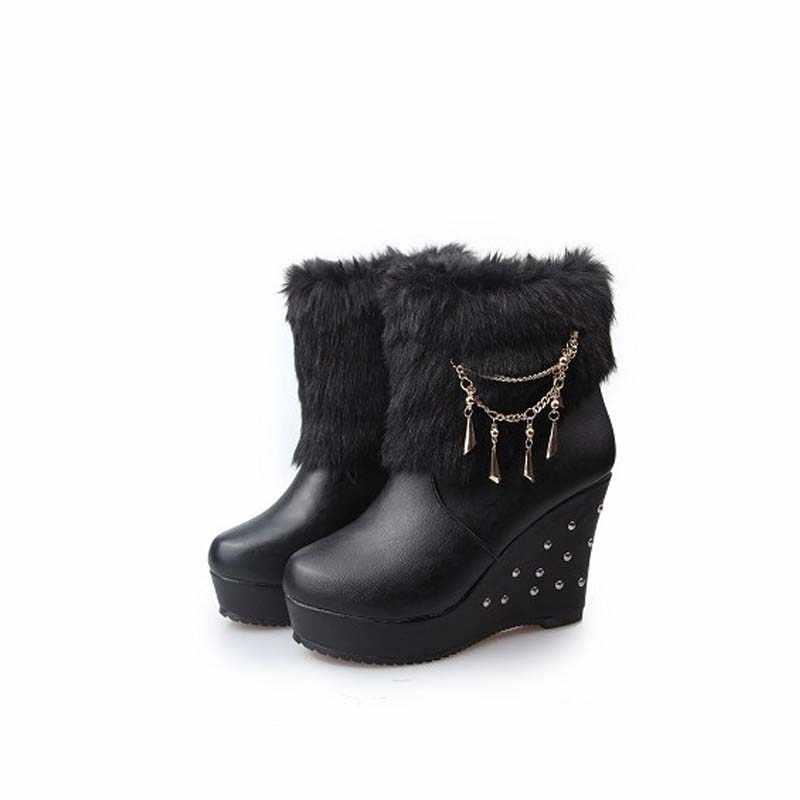 DIJIGIRLS 2018 Kış Taklit Kürk Moda Takozlar Topuklar Kadın Ayakkabı Kadın Çizmeler Platformu Sıcak Kar Lüks Femme Bayanlar Çizme Beyaz