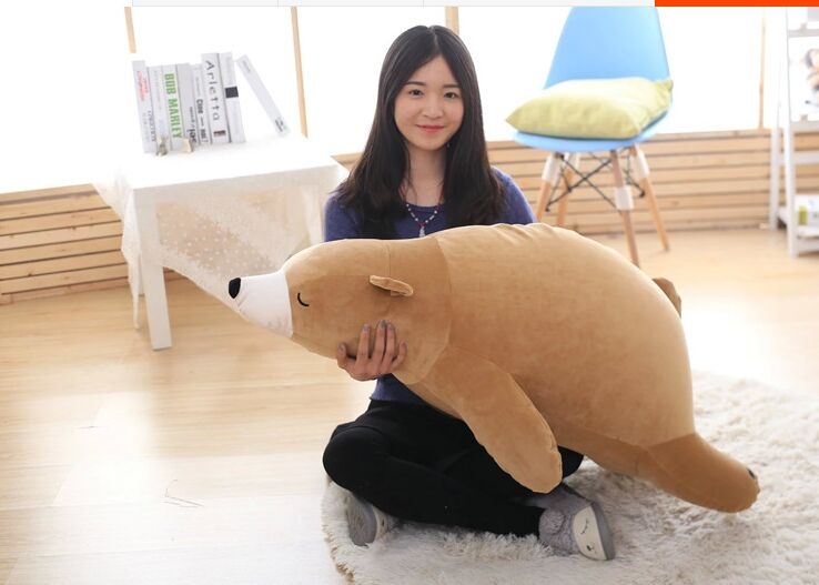 brown prone polar bear plush toy large 110cm  soft hugging pillow birthday gift w0998 large 110cm lovely prone brown bear plush toy down cotton soft bear doll throw pillow birthday gift s0397