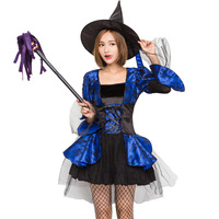 Sexy Halloween Women Costume Blue Witch Woman Fancy Dresses With Hat Carnival animation Cosplay Costumes Sorceress Clothes