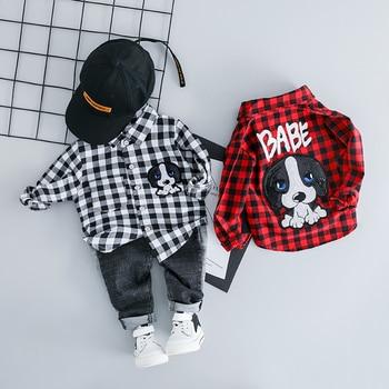 цены Spring Autumn Baby Girls Boys Clothing Sets Lapel Plaid Shirt Jeans Kids Cartoon Children Costume Infant Leisure Clothes Suits