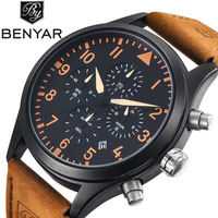 BENYAR Mens Watches Top Brand Luxury Sport Quartz Watch Leather Strap Male Clock Men Waterproof Wristwatch