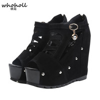 2018 Summer Style Fashion Black Sexy Sandals Women's Wedges Slippers Ultra High Platform Heels for Shoes Woman Wedding Ladies