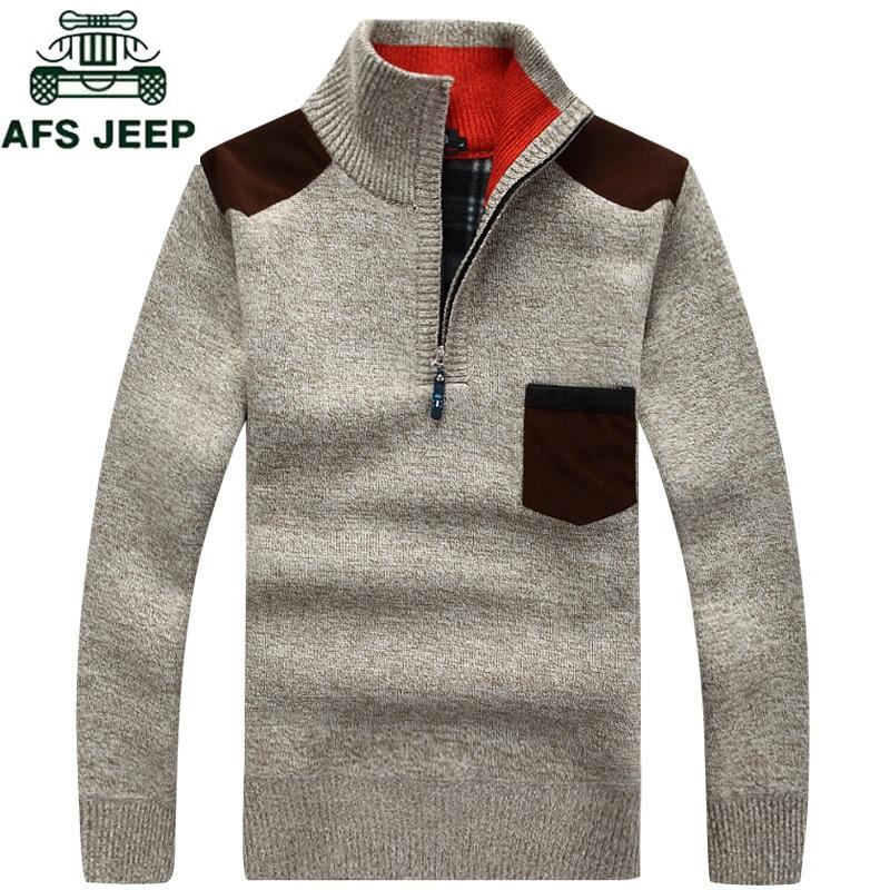 New 2018 Men's Sweaters Thick Warm Winter Zipper Pullover Cashmere Wool Sweater Men Knitwear Fleece Vetement Homme Plus Size 3XL