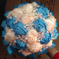 New Arrival Custom Hand Color White Ivory Satin Rose Flower Pearl Brooch Jewelry Decor Bridal wedding bouquet