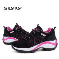 SWYIVY Woman Walking Shoes Platform Wedge 2019 Spring Summer Mesh Breathable Female Outdoor Sport Shoes Woman Walking Shoes