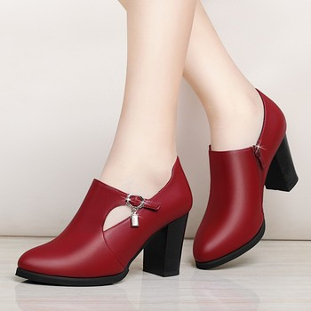 2019 Fashion Brand Women Ankle Boots Square High Heels Martin Shoes Woman Party Dancing Pumps Basic Leather Boots YG-B0067 цена 2017