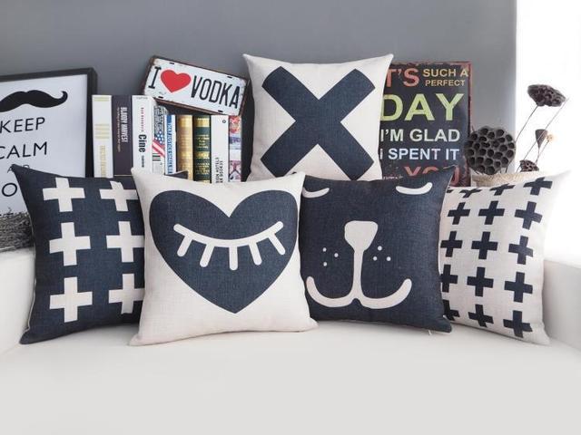 Free Shipping Christmas Gift Geometric Cross Plus Eyelash Heart Rabbit  Pattern Linen Cushion Cover Home Decor