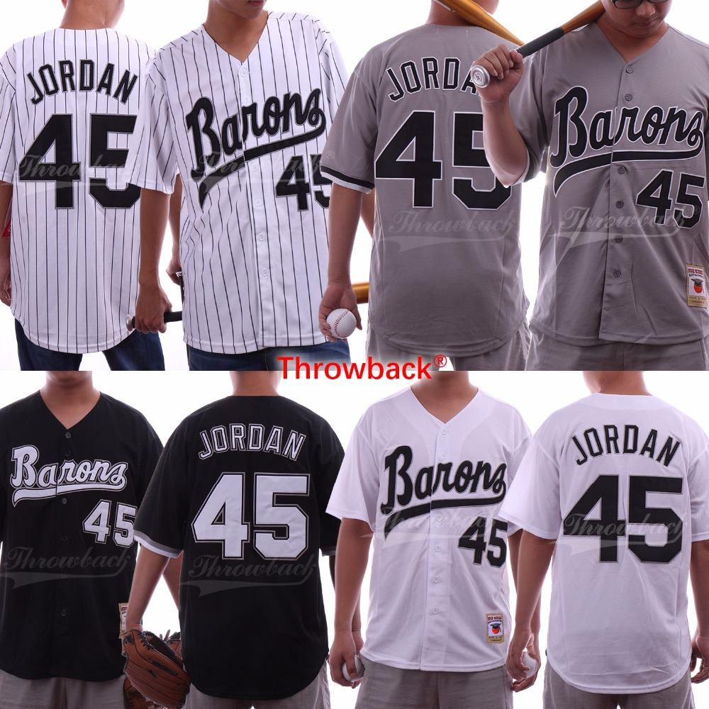 Throwback Men's Birmingham Barons Jersey Michael Jordan Rookie 45 Baseball Jersey Stitched Color White Size S-XXXL