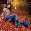 Primavera Beading Luxo Bordado Meados Cintura Grande Queimado Calça Jeans Feminina Boot Cut Bordados Rendas Sino calças de Brim Inferiores Calças Jeans