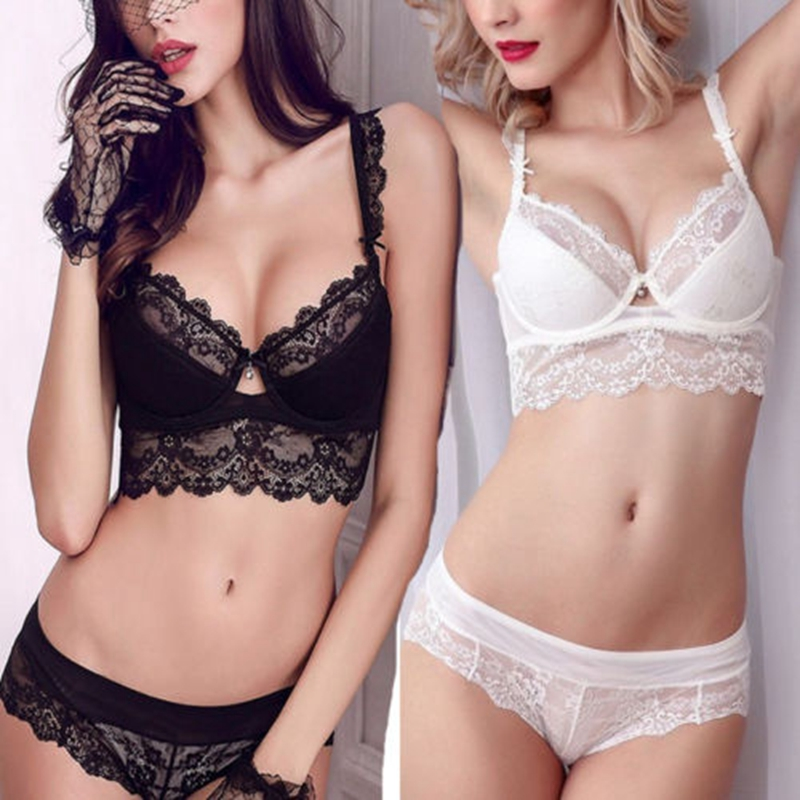 Women Floral Lace Bralette Push Up Bra Set G-string Sleepwear