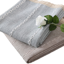 Japan Style Solid Color Stripe Cotton Linen Table Cloth Rectangular Cover Lace Edge Tablecloth for Wedding Hot Sale