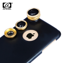 Apexel 3 in 1 Camera Lens With back Case Fish Eye Wide Angle