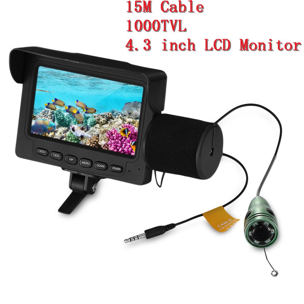 Outlife Fish Finder Underwater LED Night Vision Fishing Camera 15M Cable 1000TVL 4.3 Inch LCD Monitor Fishing Video Camera Kit