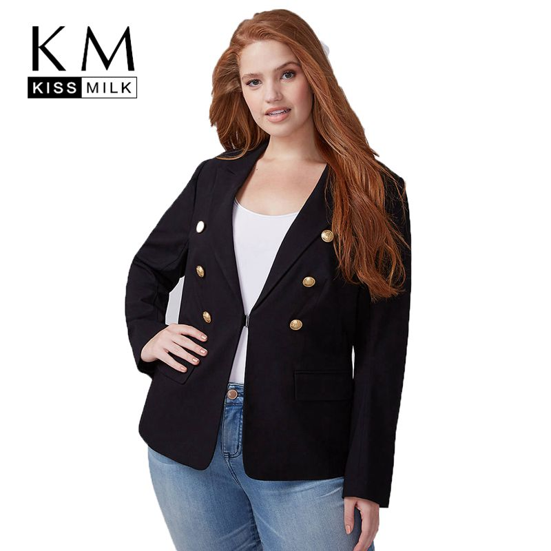 Kissmilk Plus Size Fashionable Office Worker In Good Taste Handsome Long Sleeve Retro Button Commute Wind Black Blazer