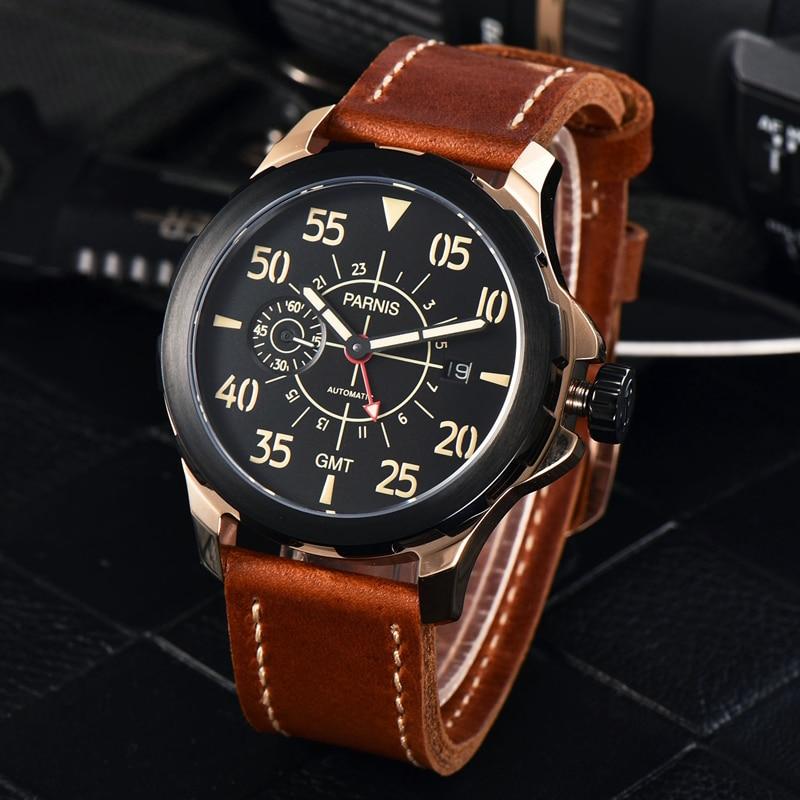 2017 nueva marca reloj mecánico reloj de lujo parnis 44mm Tourbillon - Relojes para hombres