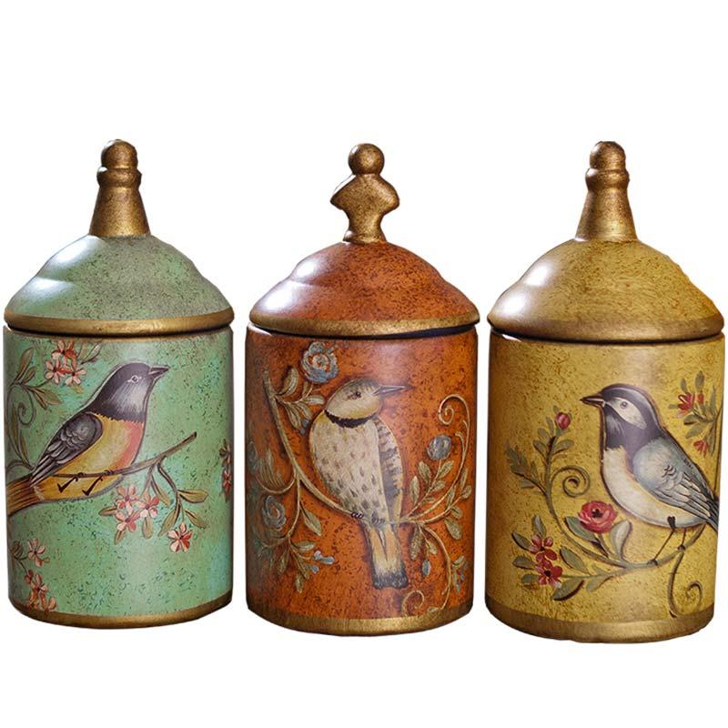 Garrafas de Armazenamento De Frascos De Cozinha Vasilha de Cerâmica do vintage Retro Chá Pote de Açúcar Dos Doces Da Lata De Armazenamento Organizador Pintado Jar Latas de Cozinha