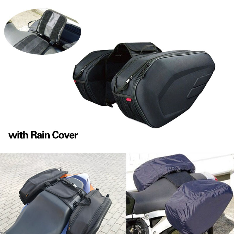 One Set SA212 Waterproof Motorcycle Saddle bags Moto Riding Helmet Bag Side Bag Tail Luggage Suitcase with Rain Cover motorcycle tail bag saddle bag luggage suitcase around motorcycle waterproof cover bag can put down helmet