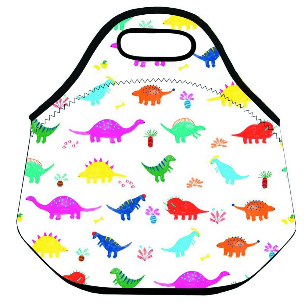 Colorful Dinosaur Thermal Insulated Lunch Bag for Kids Neoprene Lunch Cooler Bag for Women and Men Large Animal Lunch Box Bag