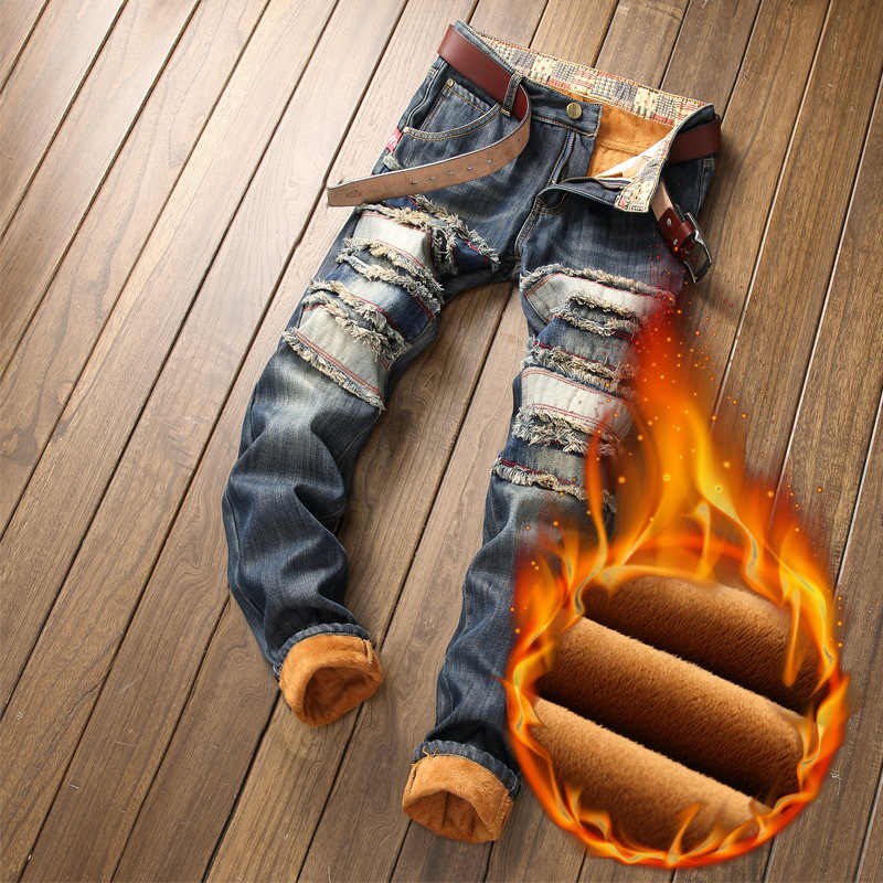 Denim Designer Gat Jeans Hoge Kwaliteit Geript Voor Mannen Maat 28-38 40 2020 Herfst Winter Plus Fluwelen Hip hop Punk Streetwear