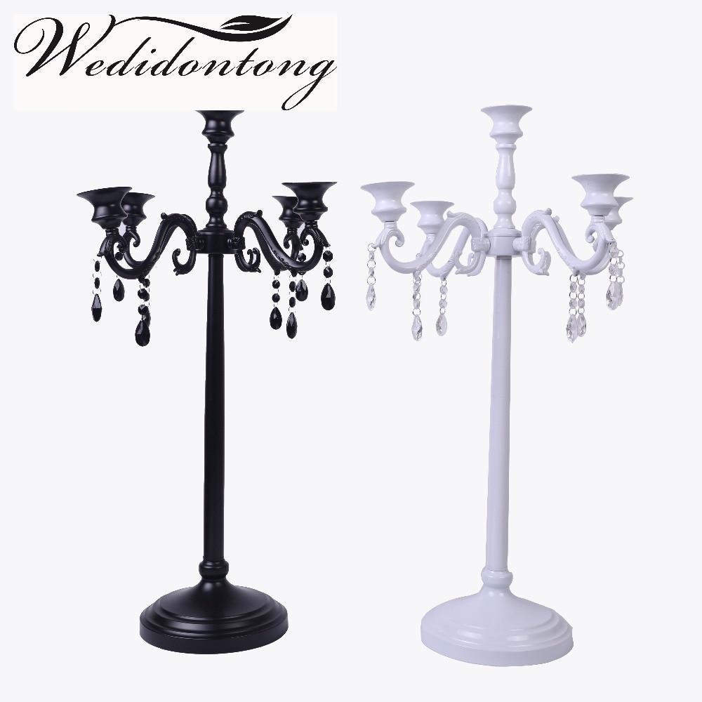 5 Arms Candles Black White Candelabra Metal Iron Wedding Party Home ...