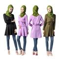 Novo estilo Abaya islâmico Muçulmano Longo 2016 camisa blusa Mulheres vestes abaya plus size vestuário tops manga longa para as mulheres musulmanes