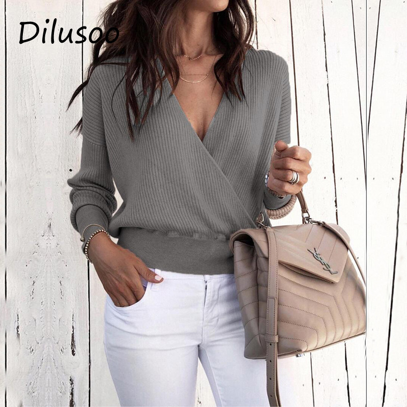 Dilusoo 2019 Autumn Knitted Sweater Women Sexy V-neck Slim Pullovers Casual Sweater Ladies Full Sleeve Overalls Winter  Sweater