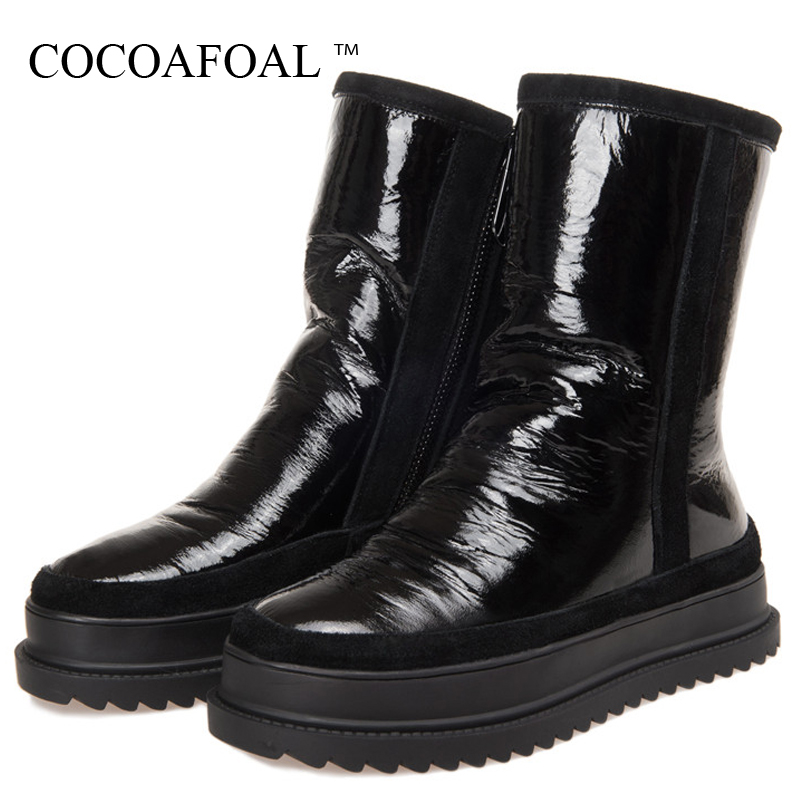 COCOAFOAL Women's Wool Snow Boots Woman Ankle Boots Silvery Winter Snow Boots Flat With Platform Wool Snow Boots Genuine Leather cocoafoal women s wool snow boots woman ankle boots silvery winter snow boots flat with platform wool snow boots genuine leather