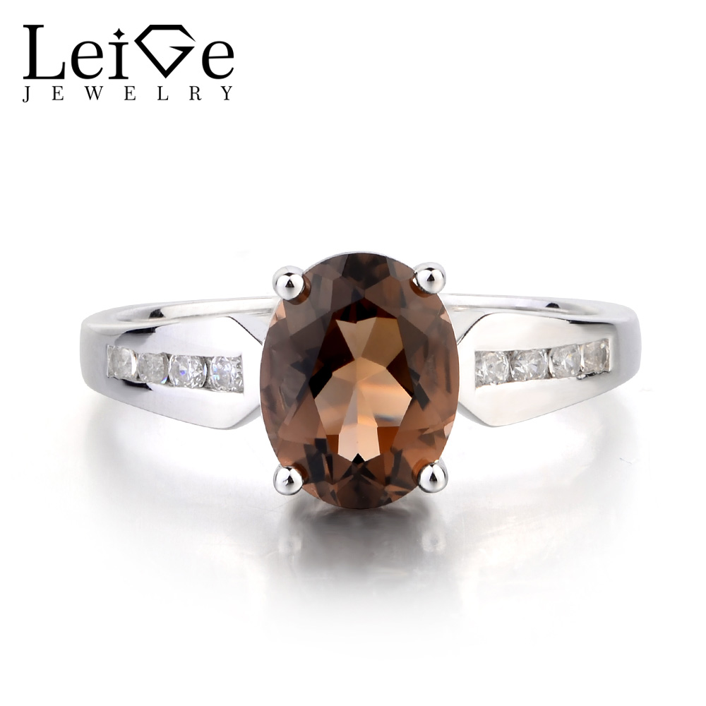Leige Jewelry Oval Cut Brown Gemstone Ring Natural Smoky Quartz Ring Cocktail Party Ring 925 Sterling