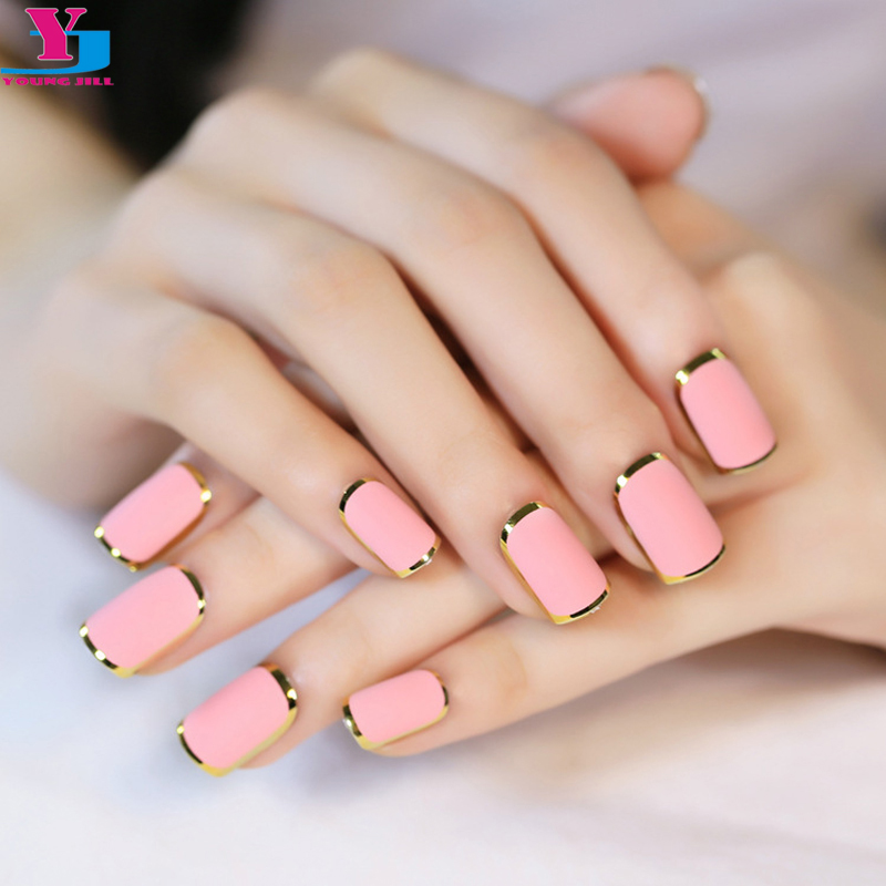 24Pcs/set Pink Matte Metallic Nail Tips Acrylic False Nail Full ...