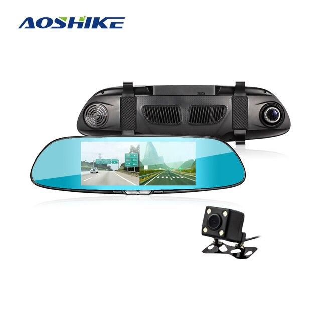 AOSHIKE 7 بوصة مرآة الرؤية الخلفية مسجل قيادة 1080 P عالية الوضوح للرؤية الليلية تسجيل مزدوج عكس القيادة جهاز تسجيل فيديو رقمي للسيارات